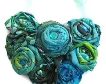 Emerald Green Fabric Bib Statement Necklace