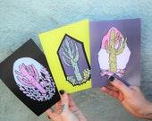 Geode Saguaro postcard - set of 3 art prints / southwest prismatic illustration