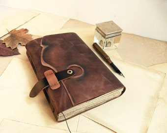 leather handbound journal with vintage style pages - Wabi-Sabi Book
