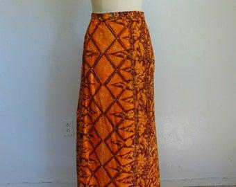 70s Thai BATIK wrap skirt maxi Sarong size medium