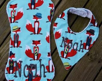 Personalized Baby Bib,Burp Cloth,Foxes,Animals,Bandana Bib,Personalized Bib,Monogrammed Bib,Personalized Burp Cloth,Baby Boy Bib