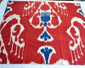 Ikat Fabric -  Red White Blue Design - 23 x 26 Sample Size