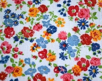 Vintage Fabric - Multicolor Flower Broadcloth - 44 x 42