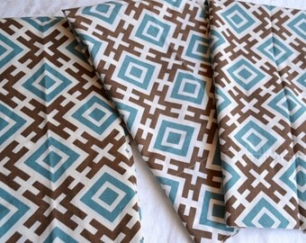 Vintage Pillowcases - Geometric Brown and Blue Print - Lot of 3 Standard Size