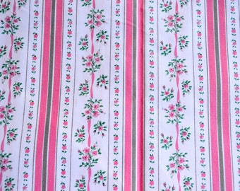 Vintage Fabric - Pink Roses Ticking Stripe - 42 x 37