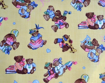 Vintage Fabric - Teddy Bears on Yellow - 45 x 64