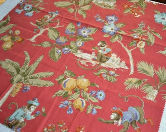 Duralee Fabric - Chinoiserie Monkey and Flowers - 26 x 26 Sample