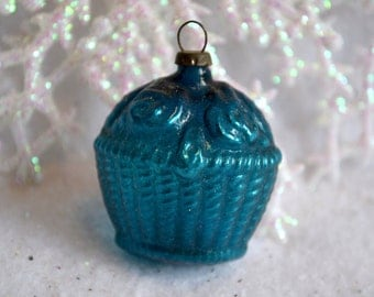 Vintage Glass Ornament - Feather Tree Flower Basket in Teal Blue