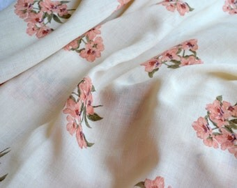 Vintage Fabric - Couleur Woven Semi Sheer Pink Floral - 58 x 44 Curtain Fabric