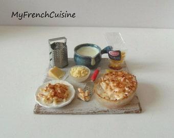 Penne rigate gratin preparation board - 1/12 Handmade miniature food