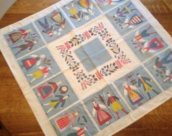 Vintage Swedish Folk Art Tablecloth