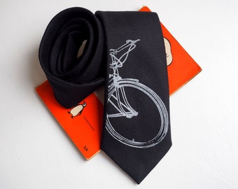 Bike Necktie, Black tie, cycling necktie, bike tie, cycling tie, gifts for cyclists, groomsmen necktie, gift for him, mens gift