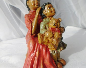 Vintage Black Art African American Ebony Mother And Daughter Love Ethnic Statue Figurine Coral Gown Teddy Bear Rare Retro Artisan Statement