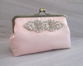 Classic Rhinestone And Pearl Blush Clutch,Bridal Accessories,Blush Wedding Clutch,Bridesmaid Clutch, Bride Purse,T3