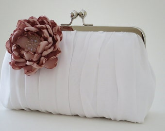 Silk Charmeuse Ivory Ruched Clutch,Bridal Accessories,Bridal Clutch,Bridesmaid Clutch,Bridesmaid gift