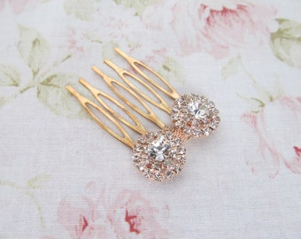 Mini Rose Gold Hair Comb,Rhinestone Wedding Hair Comb,Bridal Hair Accessories,Wedding Accessories,Decorative Hair Comb