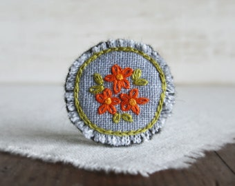 Orange Daisy Embroidered Brooch