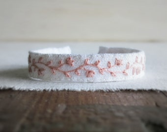 Pink Floral Bracelet, Embroidery Cuff Bracelet, Gift For Her, Gift Under 40, Pink White Bracelet, Handmade Jewelry, Feminine Cuff Bracelet