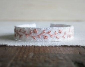 Rose Quartz Pink Fabric Bracelet - Pink Floral Vine Hand Embroidered Bracelet