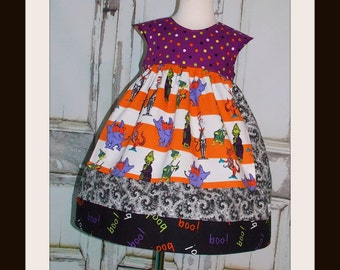 Spooky Halloween Dr. Seuss Apron Cap sleeve Dress Ready to Ship Size 3T 4T Handmade by That's So Addie Trick or Treat Cat in the Hat Horton