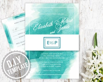 DIY Custom Teal and Aqua Blue Watercolor Wedding Invitation with Response RSVP Card for Beach Wedding - Customized Printable PDF