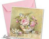 Print, reprint, painting, bird and flowery bowl Royal Albert with roses , tea cup © Hélène Flont Designs