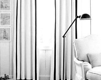 White linen drapes with grosgrain ribbon trim, Pair linen curtains, rod pocket, flat panels, drapes