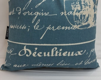 """Penmanship, french script, cotton toss pillow 14"""" square, blue and white"""