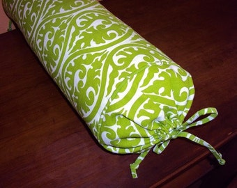 Bolster, neck roll pillow kimono scroll chartreuse green and white