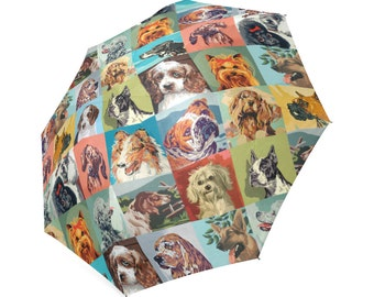 Paint By Number Dogs Umbrella - PBN Dogs foldable umbrella