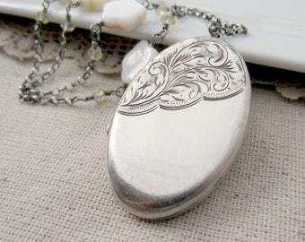 Extra Large Silver Locket, Photo Locket Necklace, English Sterling Silver Locket Silver Oval Locket, Vintage Locket, Mother of Pearl Locket
