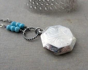 Locket Necklace, December Birthstone Locket, Turquoise Necklace, Sterling Silver Locket, Vintage Locket, Push Present, Birthstone Necklace