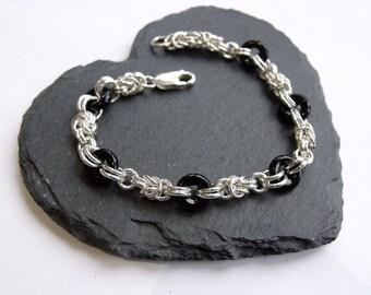 Sterling Silver and Black Bead Bracelet