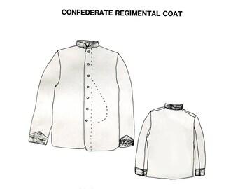 Mens Civil War Confederate Regimental Coat Pattern Mans Reenactment Standing Collar Period Impressions Costume Sewing Pattern Size 46 48 50