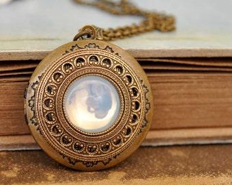 jewelry locket necklace - MOONLIT - vintage Swarovski moonstone glass crystal jewel locket necklace in antique brass