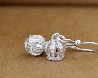 sterling silver crown earrings, TINY CROWNS, small crown charm earrings, danglers, gift for girls, princess crown earrings,
