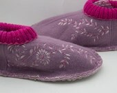 lilac pure wool upcycled slippers