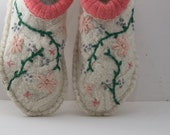 Womens cream floral slippers from upcycled sweater.