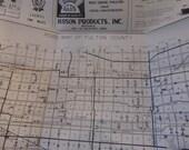 Vintage Fulton Co. Ohio Road Map Mid Century