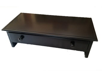 Large Black Computer Monitor Stand and Desk Organizer with Drawer