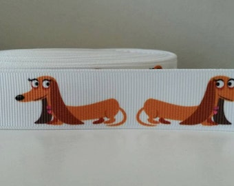 "1 yard - 22mm (7/8"") wide White Grosgrain Lady Dachshund Wiener Sausage Dog"