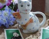 Vintage Porcelain Cat Tea Pot Koi Fish Ceramic Cat Creamer Collectable Cat Tea Pot Gold Fish Creamer 1980's