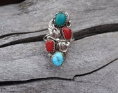Vintage Sterling Turquoise Coral Southwestern Ring Native American Style Silver Ring Multi Gemstone Feather Hand Forged Old Pawn Size 7