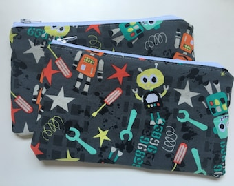 Reusable Snack Bag,  Zipper Bag,  Essential Oil Bag, Boy Snack Bag, Girl Snack Bag, Robots