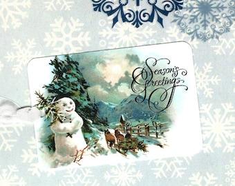 Christmas, Gift Tags, Snowman, Seasons Greetings, Christmas Tags, Vintage Style