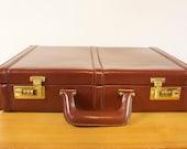 Vintage Franzen Burgundy Leather Briefcase unused
