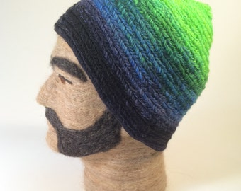 Hand Dyed Green Blue and Black Gradient Handspun Nalbound Hat