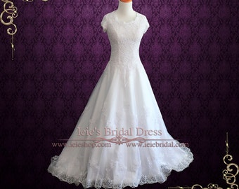 Modest Wedding Dress With Short Sleeves | Lace Wedding Dress | LDS Wedding Dress | Mormon Wedding Dress | Adalia
