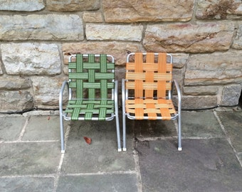 PAIR of Vintage Aluminum Child Lawn Chairs
