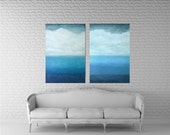 Abstract Ocean Paintings- Set of 2- Turquoise, White, Blue- 30x48- Large Art- Acrylic Mixed Media Canvas- Ombre-  Oversized Art